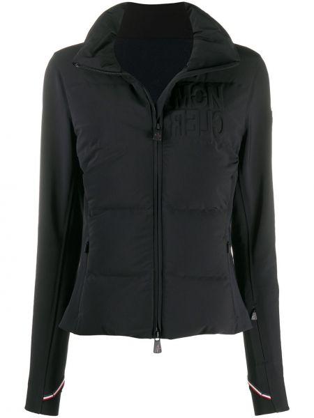 С рукавами черная пуховая длинная куртка Moncler Grenoble