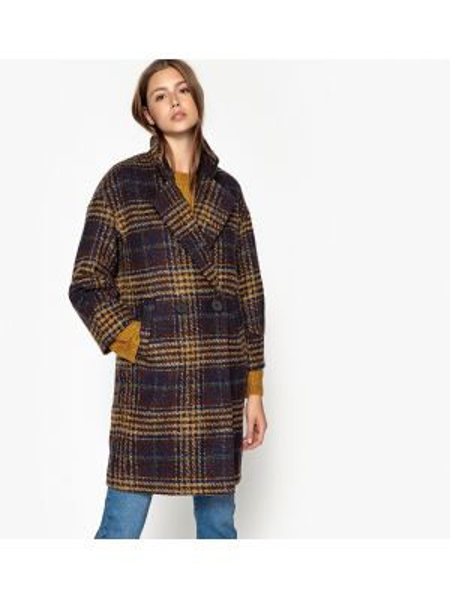 Коралловое шерстяное длинное пальто с воротником с подкладкой See U Soon