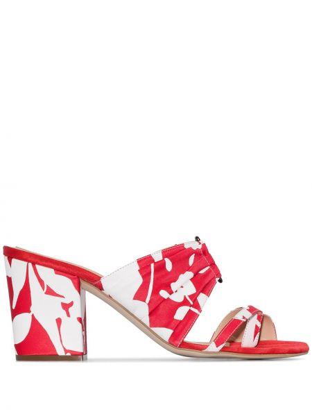 Красные шелковые мюли на каблуке без застежки Rosie Assoulin