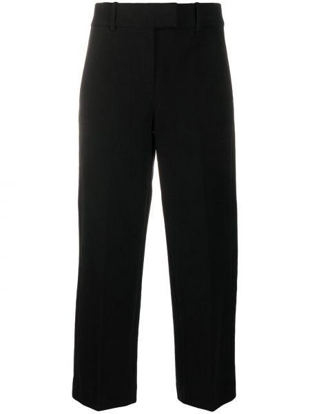 Хлопковые черные укороченные брюки с высокой посадкой с потайной застежкой Circolo 1901