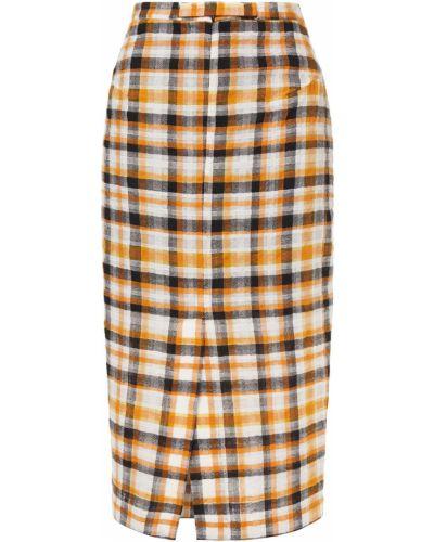 Оранжевая шерстяная юбка миди с подкладкой Mcq Alexander Mcqueen