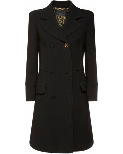 Шерстяное черное дафлкот с карманами Versace