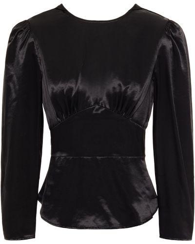 Czarna bluzka z wiskozy zapinane na guziki Alexachung