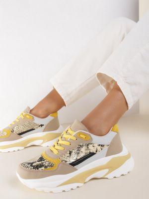 Beżowe sneakersy materiałowe Renee