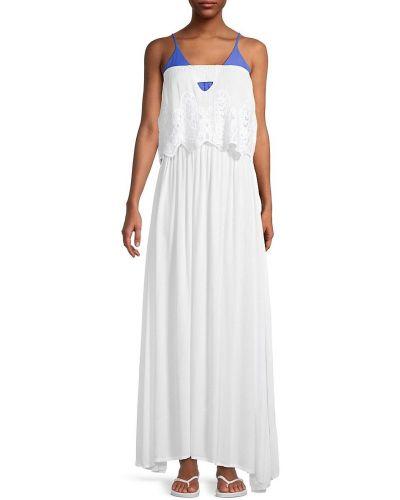 Прямое белое платье макси с декольте Tiare Hawaii