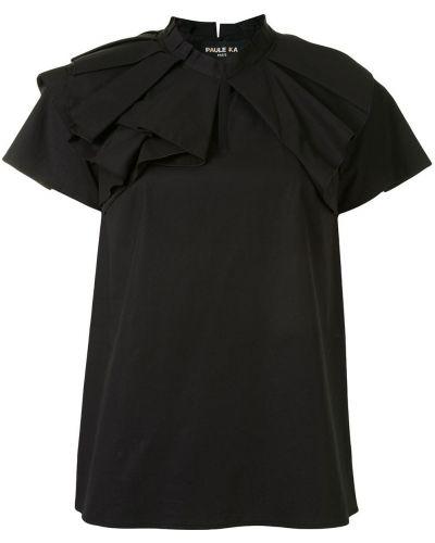С рукавами хлопковая черная блузка с коротким рукавом с оборками Paule Ka