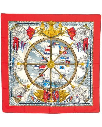 Красный шелковый платок квадратный Hermes