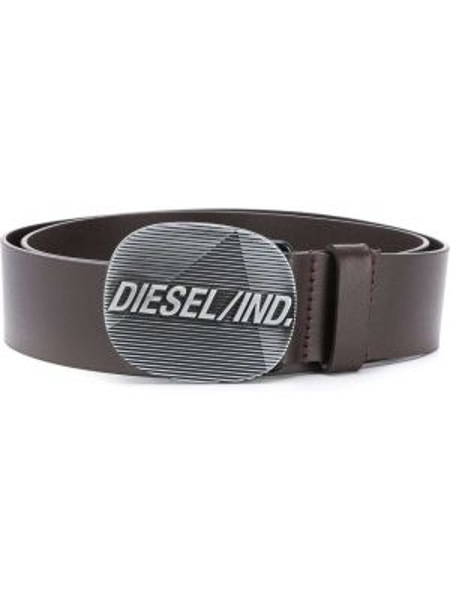 Brązowy pasek skórzany z paskiem Diesel