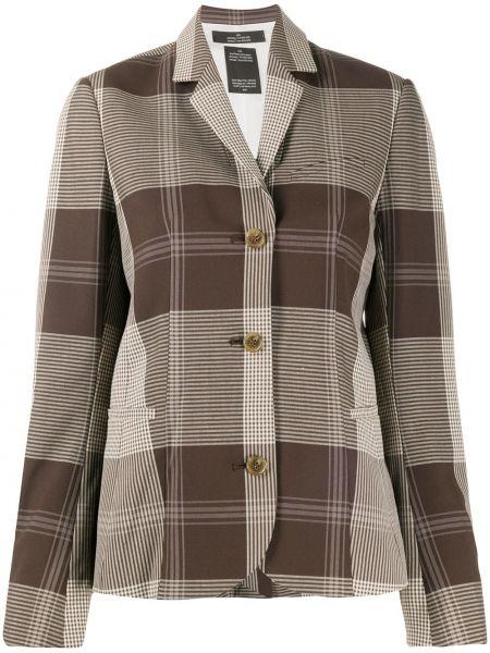 Коричневый пиджак с карманами на пуговицах Rokh