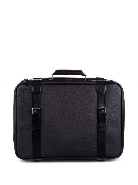 Czarny walizka z kieszeniami z prawdziwej skóry z klamrą Louis Vuitton
