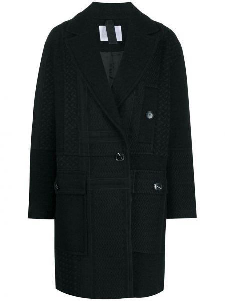 Шерстяное черное длинное пальто двубортное Lala Berlin