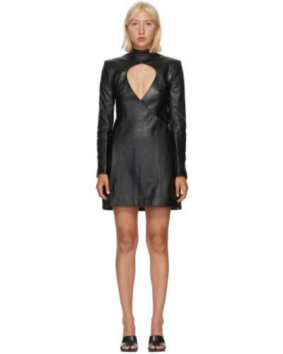 Черное кожаное платье макси с длинными рукавами с воротником Situationist