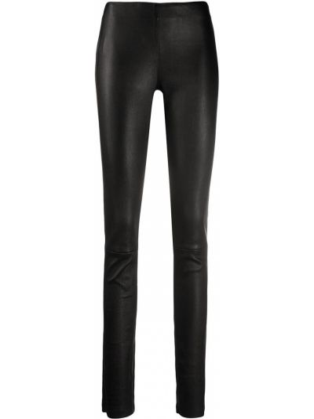 Брючные кожаные черные зауженные брюки Drome