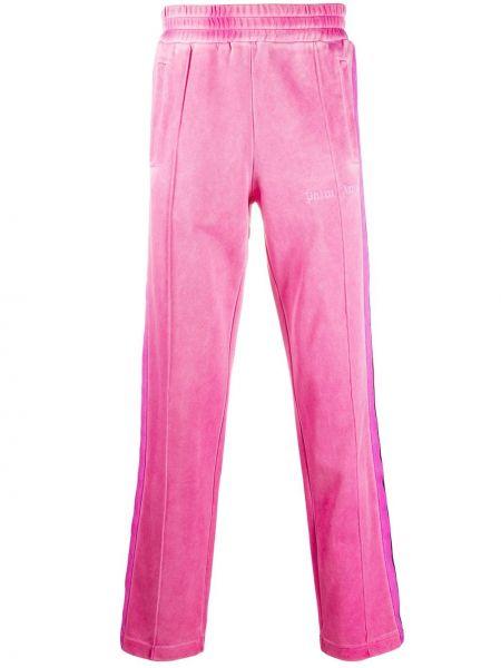 Różowy aksamit spodnie o prostym kroju z kieszeniami z paskami Palm Angels