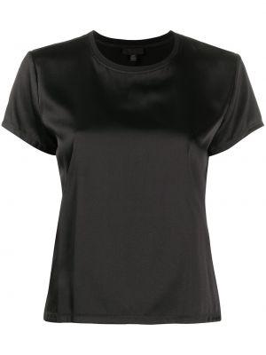 Шелковая черная футболка с круглым вырезом с короткими рукавами Atm Anthony Thomas Melillo