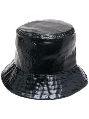 Черная панама круглая в рубчик Karl Lagerfeld