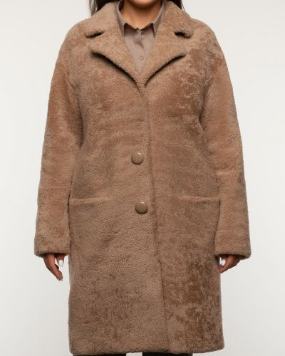 Прямое коричневое пальто с воротником Alcato