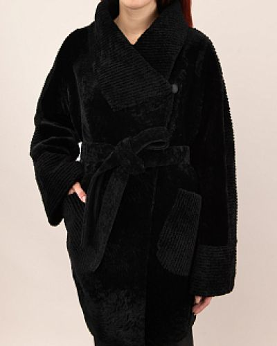Пальто из овчины - черное Favorit
