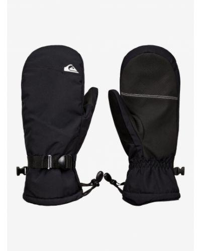 Ciepłe czarne rękawiczki skorzane Quiksilver