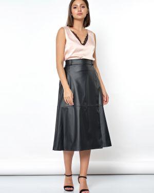 Кожаная юбка с запахом с карманами Jetty