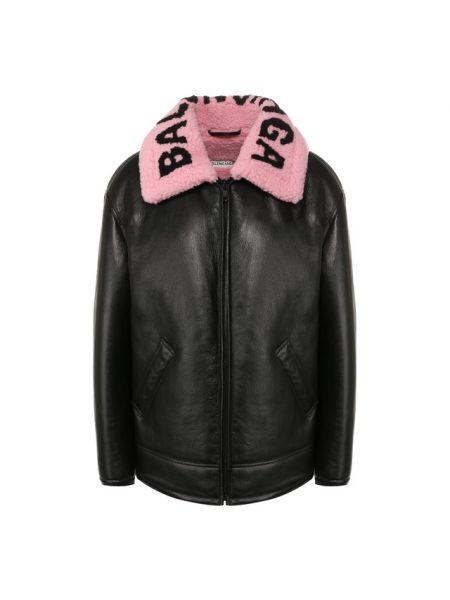 Кожаная куртка черная с надписью Balenciaga