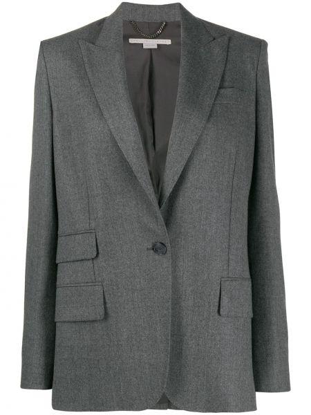Однобортный серый классический пиджак с карманами Stella Mccartney