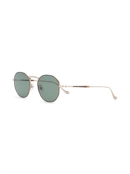 Золотистые желтые солнцезащитные очки круглые металлические Matsuda