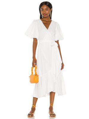 Хлопковое белое платье миди в полоску Minkpink