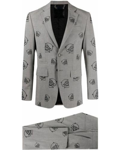 Костюмный серый костюм с вышивкой Philipp Plein