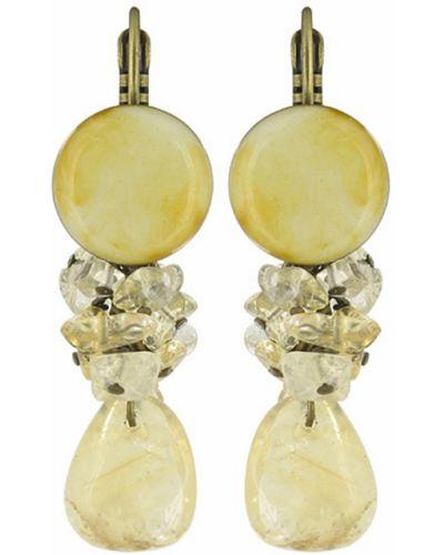 Золотые серьги удлиненные с камнями Nature Bijoux