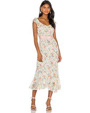 Бежевое платье миди на молнии эластичное из вискозы Loveshackfancy