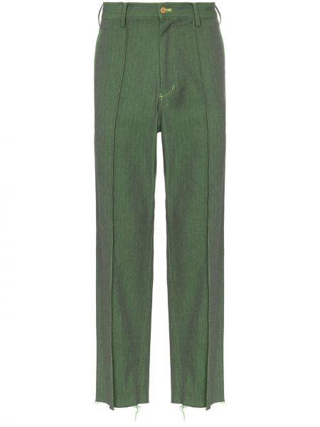 Zielone spodnie bawełniane z paskiem Sulvam