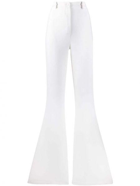 Шерстяные расклешенные брюки с поясом с высокой посадкой Hebe Studio