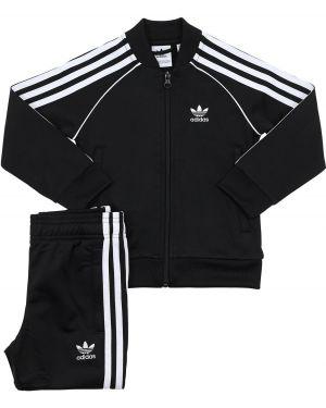 Czarny garnitur w paski z raglanowymi rękawami Adidas Originals