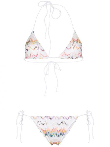 Белые бикини из вискозы с завязками с вышивкой Missoni Mare