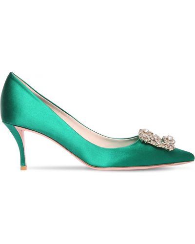 Зеленые сатиновые туфли-лодочки с острым носом с пряжкой Roger Vivier