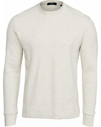 Biały prążkowany pulower z długimi rękawami Theory