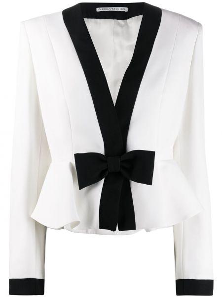 Шерстяной белый пиджак с вырезом Alessandra Rich