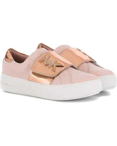 Розовые кожаные кроссовки с заплатками Michael Kors Kids