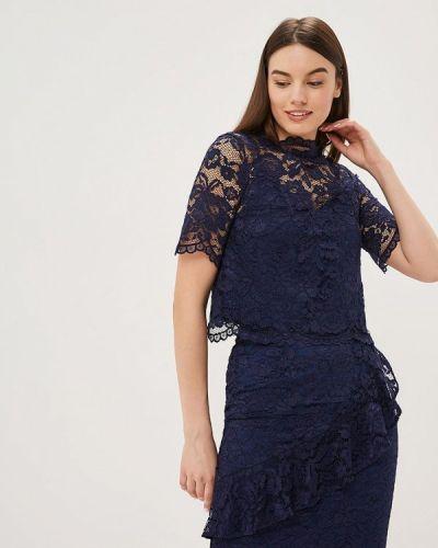 Блузка кружевная синяя Warehouse