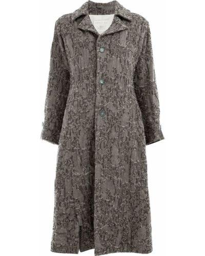 Однобортное шерстяное длинное пальто с капюшоном Renli Su