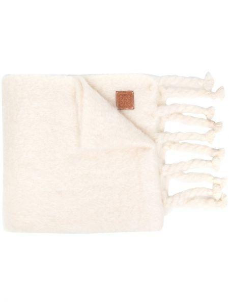 Biały szalik z moheru przycięte Loewe
