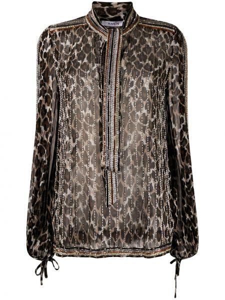 Шелковая коричневая прямая блузка с длинным рукавом с бантом Amen.
