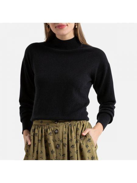 Черный тонкий свитер с воротником в рубчик La Redoute