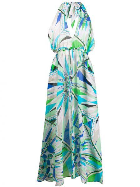 Платье миди с V-образным вырезом с абстрактным принтом Emilio Pucci