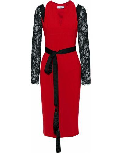 Кружевное платье миди с вырезом из крепа Amanda Wakeley