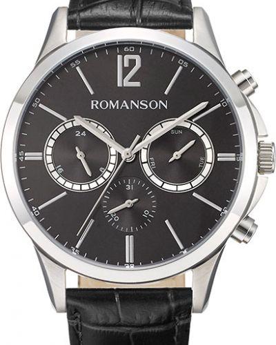 Часы водонепроницаемые с кожаным ремешком корейский Romanson
