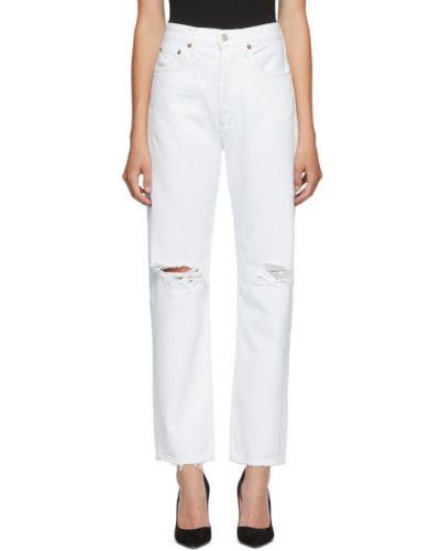 Biały duży jeansy z kieszeniami z logo Agolde