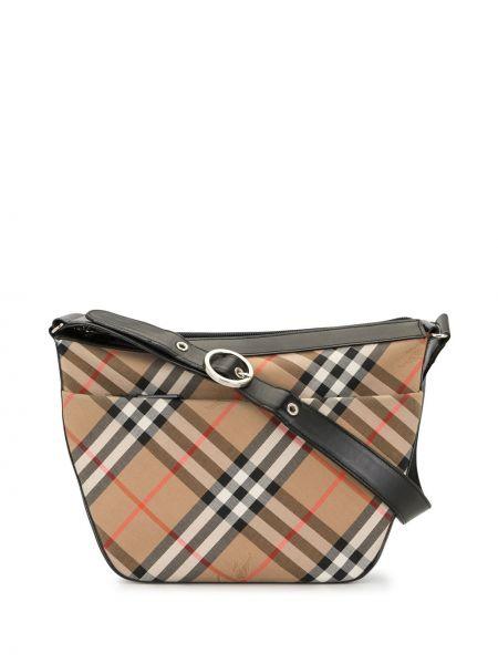 Коричневая парусиновая сумка на плечо на молнии с карманами Burberry Pre-owned
