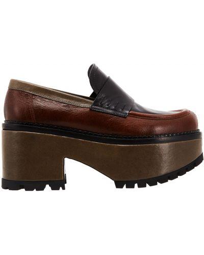 Кожаные туфли на каблуке на широкую ногу Marni